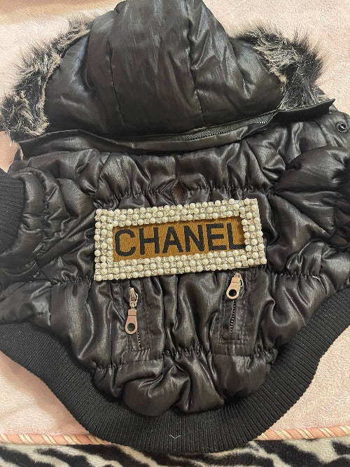 Handmade Chanel inspired coat with fur collar and pearls and rhintestones.