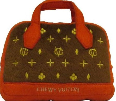 Chewy Vuiton Posh Purse Brown w/ Red Trim Toy
