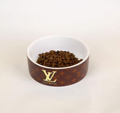 Louis Vuitton Inspired Ceramic Food and Water Bowl