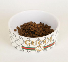 Gucci Inspired Ceramic Food and Water Bowl