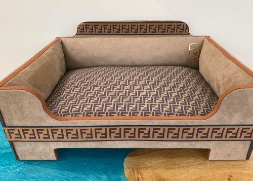 Handmade Fendi Inspired Faux Leather Dog Bed with Soft Insert