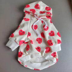 Fleece Hoodie with red hearts.