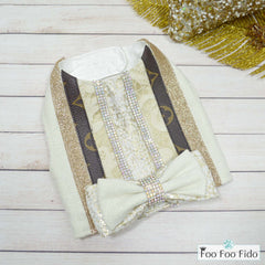 Louis Vuitton Inspired Ivory, Gold and Rhinestone Dog Vest & Harness