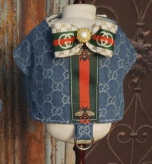 Gucci Denim harness for him. Velcro closing lined, interfaced and topstitched, velcro closing with D ring