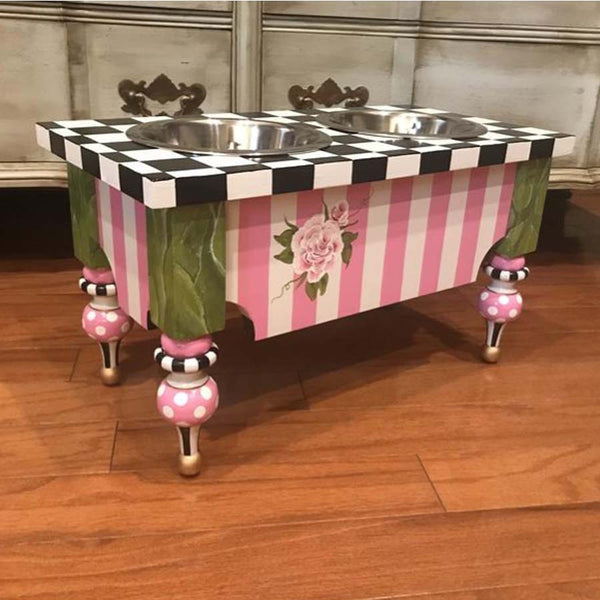 Handmade Shabby Chic Black & White with Pink check dog feeder with pointy legs
