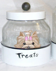 Hand Painted Yorkie Treat Jar