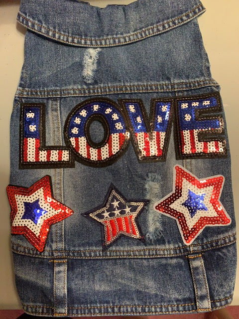 Patriotic denim vest with red, whire & blue love and star patches