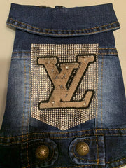 Louis Vuitton designer inspired blinged out denim vest with Rhinestone patch background