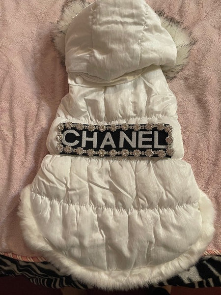 Handmade Chanel inspired white puffy coat with faux fur collar