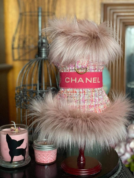 Handmade Chanel inspired tweed coat with pink faux fur