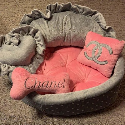 Baby Pink and Grey Princess Dog Bed