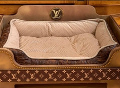 Handmade Louis Vuitton Inspired Faux Leather Dog Bed