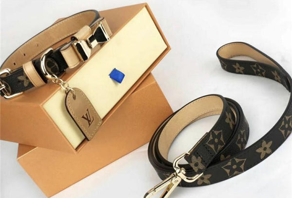 Louis Vuitton inspired Bow Collar & Leash Set