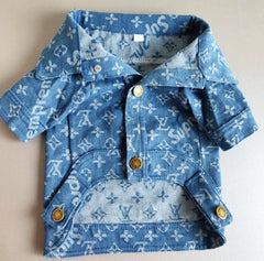 Louis Vuitton inspired Blue Denim Dog Jacket
