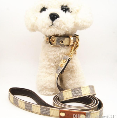 Chewy Vuitton Inspired Checkered Collar and Leash Set
