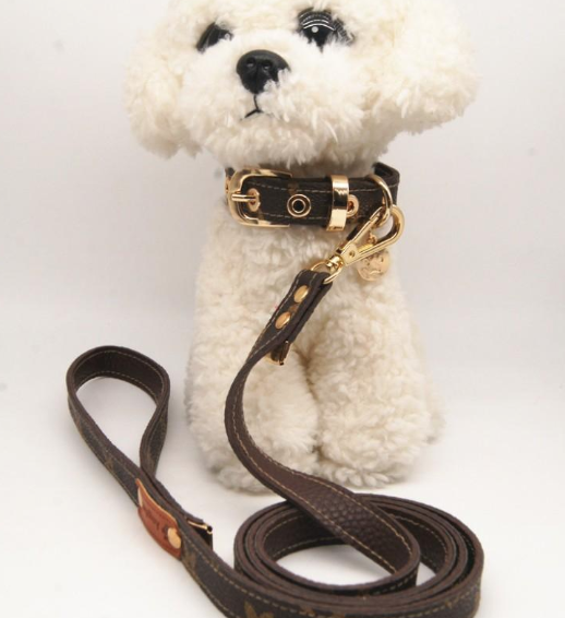 Louis Vuitton Inspired Monogramed Collar and Leash Set