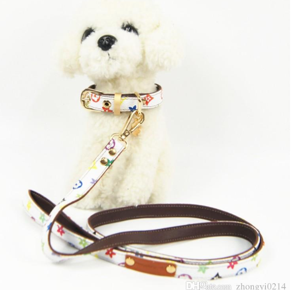 Louis Vuitton Inspired Monogramed White Collar and Leash Set