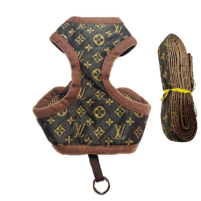 Louis Vuitton Inspired Dog Harness + Leash Set