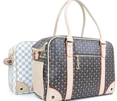 Chewy Vuitton inspired dog carrier in white check pattern