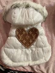 Handmade Louis Vuitton inspired white puffy coat with faux fur collar
