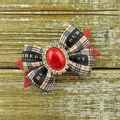Red, Black & Beige Burberry inspired dog bow