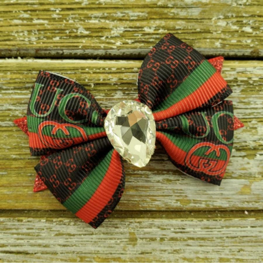Red, Green & Brown Gucci Inspired Dog Bow