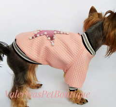 Waterproof jacket with applique and pearls