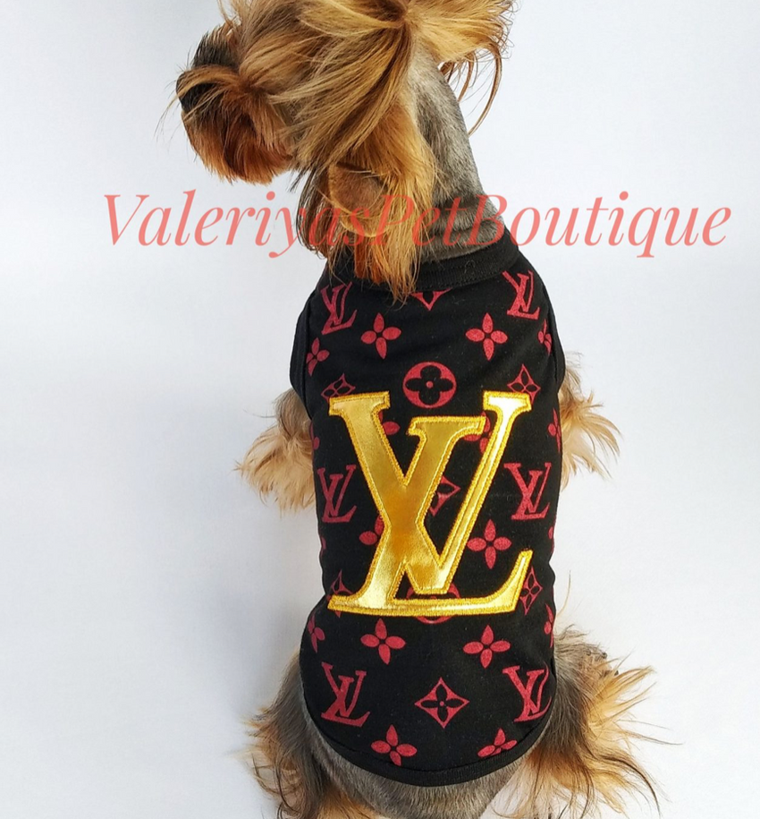 Louis Vuitton Inspired T-shirt with faux leather applique