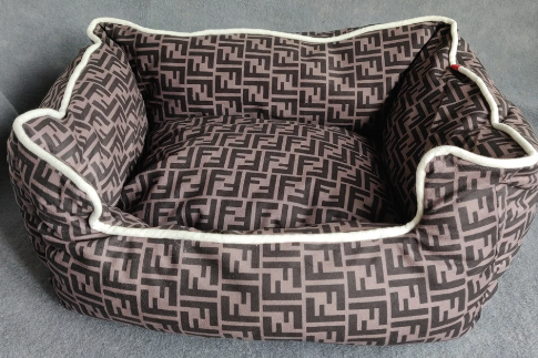 Fendi inspired fluffy dog bed