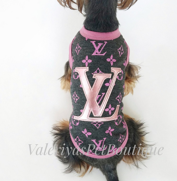Louis vuitton inspired pink dog motif t-shirt