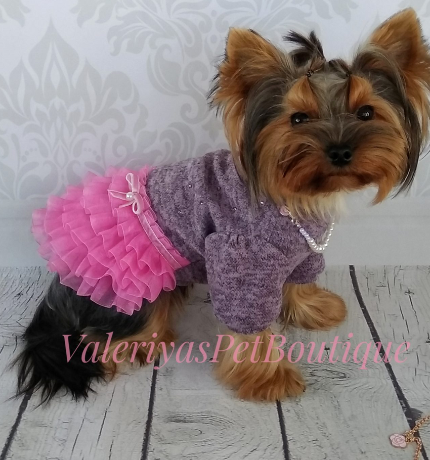 Soft jersey dog dress with rhinestones