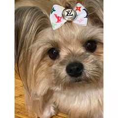 White Multicolor Louis Vuitton Inspired Dog Bow