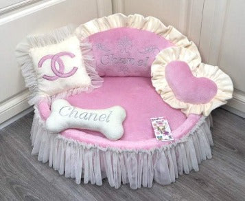 Baby Pink and Cream Princess Dog Bed