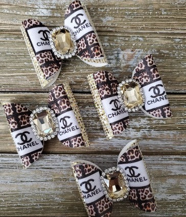 Brand new animal print designer inspired bow