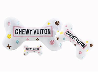 White Chewy Vuiton Bone Toy