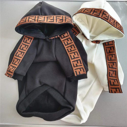 Fendi Inspired Fleece Dog Hoodie