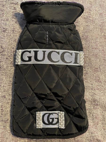 Gucci inspired black and silver winter puffy coat