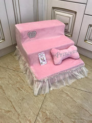 Luxury Ballerina Pink Pet Stairs With Sparkling Crown