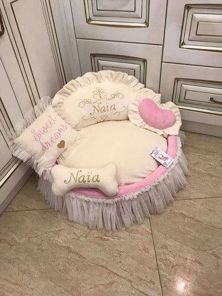 Ivory and Baby Pink Princess Designer Dog Bed