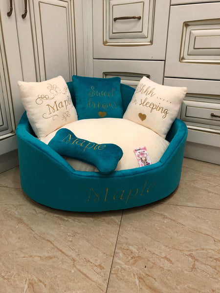 Teal and Cream Royal Dog Bed
