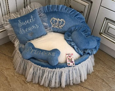 Blue Princess Designer Dog Bed with Crown Sparkles