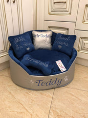 Silver and Navy Blue Luxury Dog Bed Faux Leather