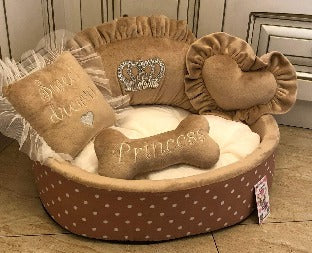Beige and Cream Designer Dog Bed