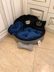 Navy Blue and Black Tartan Luxury Dog Bed