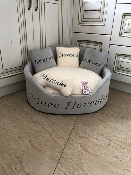 Gray and Cream Royal Dog Bed