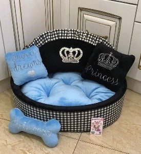 Black and Sky Blue Prince Dog Bed