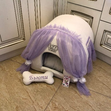 Cream and Lilac Luxury Dog House
