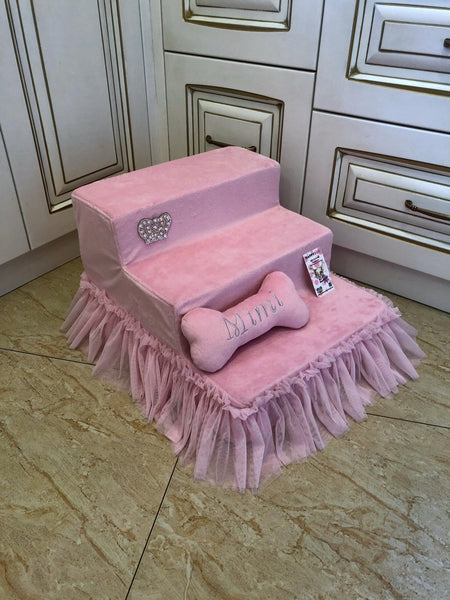 Luxury Pink Pet Stairs With Sparkling Crown