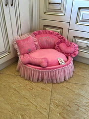 Pink Princess Dog Bed with Crown Sparkles Designer Dog Bed