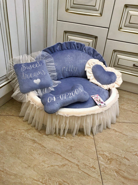 Lavender and Cream Princess Designer Dog Bed